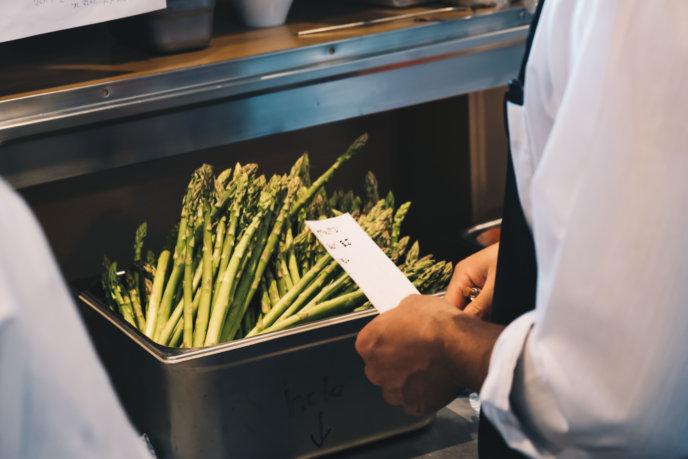 Local asparagus ready for prep