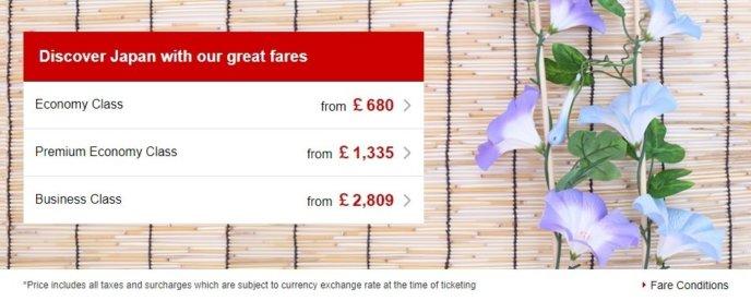 Jal British Airways Heathrow To Haneda Special Fares 2017