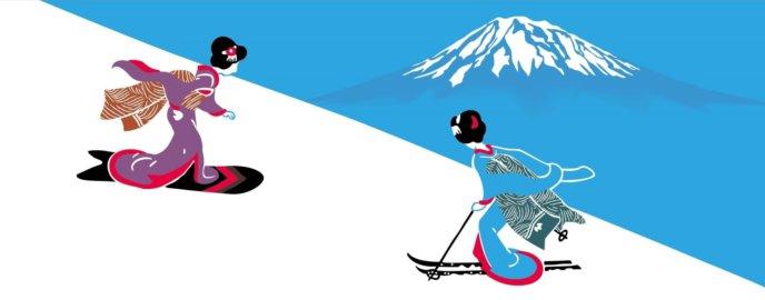 Japanese Ukiyo E Style Snowboarder And Skier In Niseko Yotei