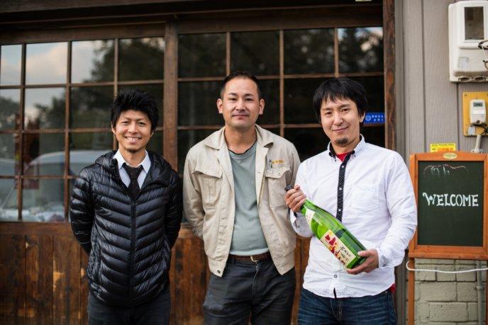 Maeda Mizuguchi Kondo Standing Outside Niseko Sake Brewery