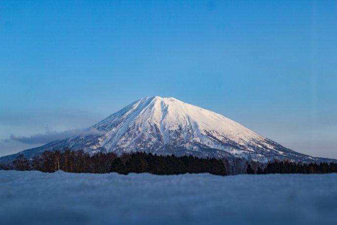 Mt Yotei Blue Skies From Kutchan Town
