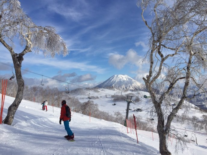 Niseko Annupuri International Ski Resort Winter Season 1 Snowboarder Ski Area Yotei Background Blue Sky 2016