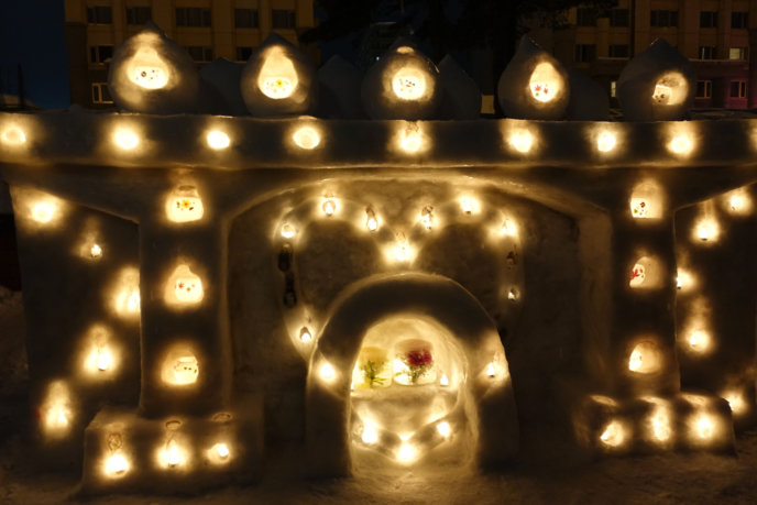 Otaru Snow Light Path 2017 Snow Mantle And Candle Heart Centered
