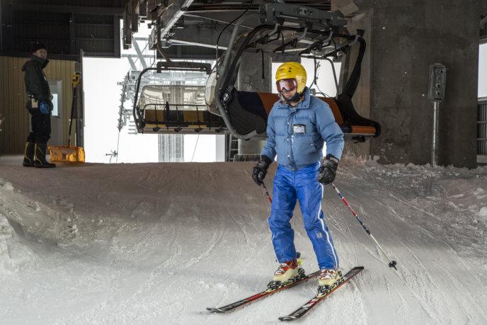 Skier at King Quad Lift #3 Grand Hirafu