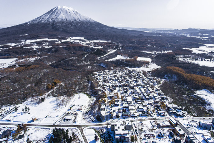 Drone Shot Whole Village With Snow