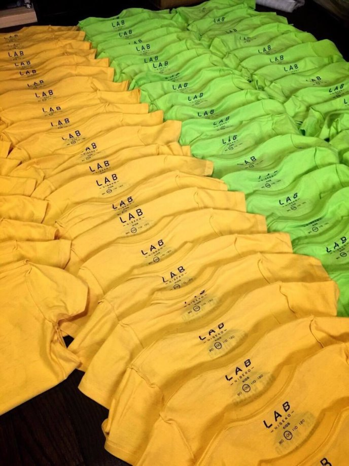 Rows of T-shirts ready to go!