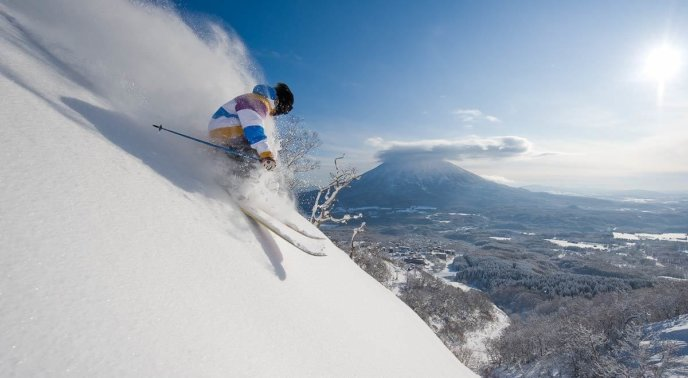 Powder Skier With Yotei In The Background