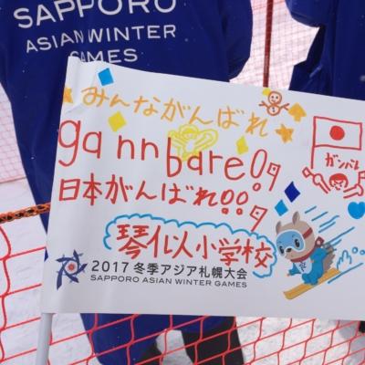 2017 Sapporo Winter asian games Japanese spectator flag