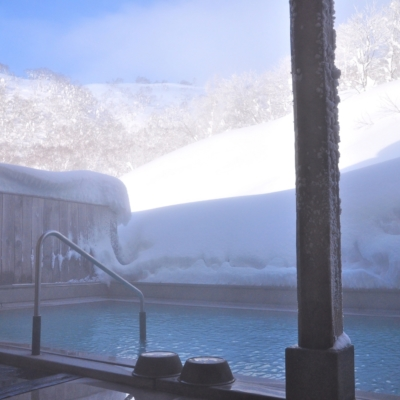 Goshiki Onsen Winter Snow Outdoor Pool Rotenburo Day Time