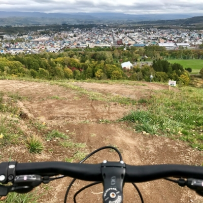 Riding the Asahigoaka Flow Trail in October 2017.