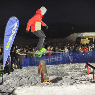 Niseko Rail Jam Skier coming in for a 50/50