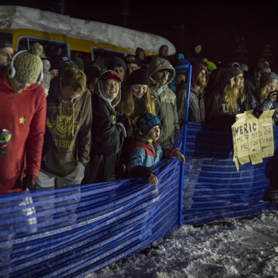 Niseko Rail Jam Spectators Pressed Against the Fences