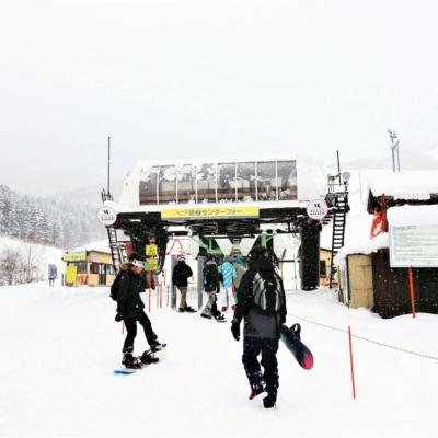 Riders ready to take the lifts up.