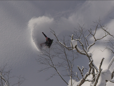 "Toshiya Kasuga Throwing Up Clouds Deep In The Niseko Backcountry During The Filming Of ""5 Niseko Stories"""