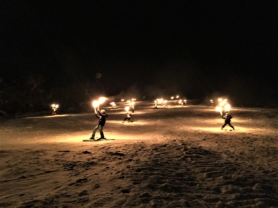 Torchlight skiing