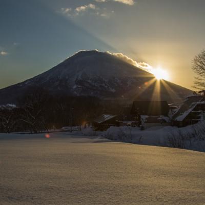 羊蹄山の朝焼け