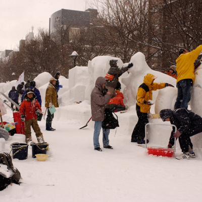 Artists hard at work creating the snow sculptures.