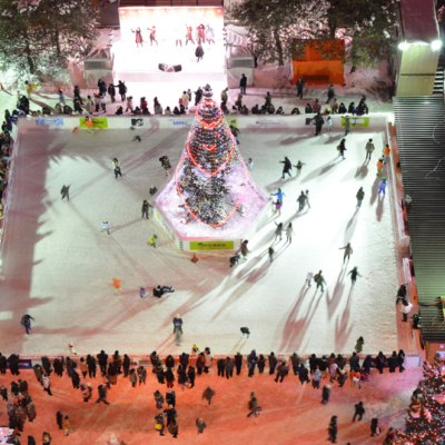 Ice skating rink at the festival.